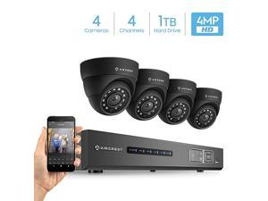 UltraHD 4Megapixel 4CH Video Security System with Four 40MP Outdoor IP67 Dome Cameras 98ft Night Vision PreInstalled 1TB Hard Drive AMDV40M44DB