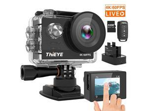 T5 Pro 4K 60fps Action Camera Native 20MP EIS Touch Screen 60M Underwater Waterproof WiFi 8X Zoom Remote Control Video Sports Camera with 2 Batteries and Accessories Kit(64GB Card Included)