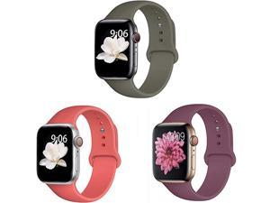 Pack 3 Compatible with Apple Watch Band 38mm 40mm 42mm 44mmfor iWatch Series 5 4 3 2 1 CoralWineOlive 38mm40mmML