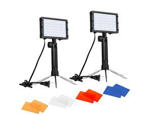 60 LED Continuous Portable Photography Lighting Kit for Table Top Photo Video Studio Light Lamp with Color Filters 2 Packs