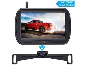 Y25 HD Digital Wireless Backup Camera System 5 Inch Monitor Hitch Rear View License Plate Camera for Trucks,Vans,Campers,Cars,SUVs Front View Camera Kit Guide Lines DIY Settings