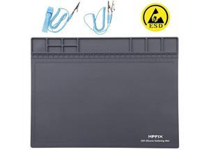"""Anti-Static Mat ESD Safe for Electronic Includes ESD Wristband and Grounding Wire,  Silicone Soldering Repair Mat 932°F Heat Resistant for iPhone iPad iMac, Laptop, Computer, 15.9"""" x 12"""" Grey"""