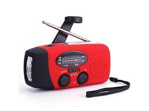 Weather Radio Hand Crank Self Powered Solar Emergency Radios with 3 LED Flashlight 1000mAh Power Bank Smart Phone Charger Red