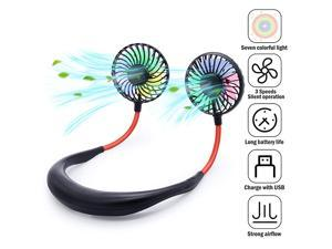 Fan Neck Fan Portable USB Fans with Three Levels of Wind USB Rechargeable 2000mAh Battery Red and Blue LED Lights Private Fan are Suitable for Indoor and Outdoor Activities