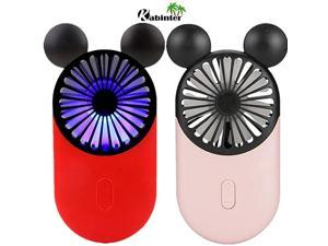 Cute Personal Mini Fan Handheld amp Portable USB Rechargeable Fan with Beautiful LED Light 3 Adjustable Speeds Portable Holder for Indoor Outdoor Activities Cute Mouse 2 Pack Red+Pink