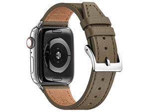 Watch Band Compatible with Apple Watch Band 38mm 40mm 42mm 44mm for Men and WomenGenuine Leather Replacement Strap for iWatch Series 54321 TaupeSilver 42mm 44mm