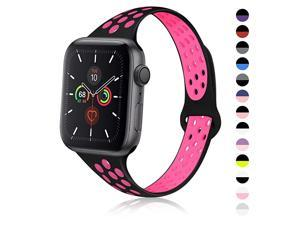 Sport Slim Silicone Band Compatible for Apple Watch Band 38mm 42mm 40mm 44mm, Thin Breathable Narrow Replacement Sp Wristband for iWatch Series SE/6/5/4/3/2/1 Women Men,38mm/40mm