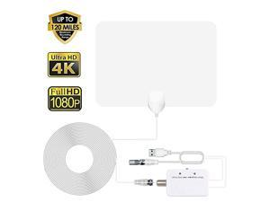 TV Antenna HDTV Antenna Indoor Support 4K 1080P 80130 Miles Range Digital Antenna VHF UHF Freeview Channels Antenna with Amplifier Signal Booster 165 Ft Longer Coaxial Cable White