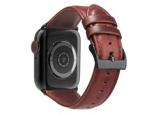 Leather Bands Compatible with Apple Watch Band 44mm 42mm 40mm 38mm Men Women Replacement Genuine Leather Strap for iWatch Series 5 4 3 2 1 Sport and Edition