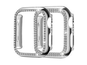 Compatible for Apple Watch Case 42mm 2 Pack Women Soft Bling PC Full Cover Screen Protective Bumper Frame for iWatch Series 3 2 1Silver42mm