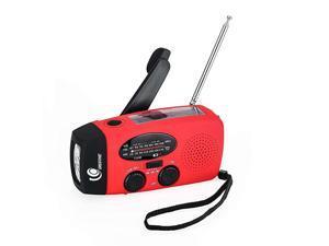Emergency Hand Crank Self Powered AMFM NOAA Solar Weather Radio with LED Flashlight 1000mAh Power Bank for iPhoneSmart Phone 088 red