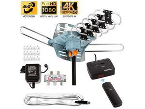 Star Newest 2020 HDTV Antenna Amplified Digital Outdoor Antenna 150 Miles Range 360 Degree Rotation Wireless Remote with 40FT Coax Cable Installation Kit Supports 5 TVs