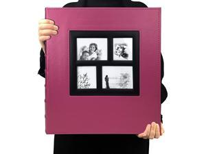 Photo Album 4x6 600 Photos Black Pages Large Capacity Leather Cover Wedding Family Photo Albums Holds 600 Horizontal and Vertical Photos Pink 600 Pockets