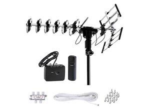 Outdoor HD TV Antenna 2019 Newest Model Up to 200 Miles Long Range with Motorized 360 Degree Rotation UHFVHFFM Radio with Infrared Remote Control Advanced Design Plus Installation Kit