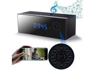 Hidden Camera Clock in Bluetooth Speaker with Night Vision, Wireless 1080P Nanny Cam, Motion Detection WiFi Smart Security Monitoring for Home/Office
