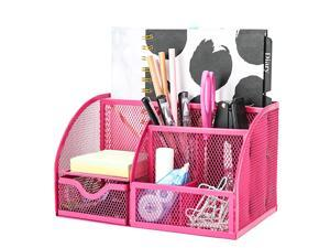 Mesh Desk Organizer Office with 7 Compartments + Drawer Desk Tidy Candy Pen HolderMultifunctional Organizer EX348 Pink
