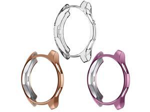 Case Compatible with Samsung Galaxy Watch 46mm,  TPU Slim Plated Case Shock-Proof Cover All-Around Protective Bumper Shell for Galaxy Watch 46mm Smartwatch, 3 Pack Clear, Rose Gold, Rose Pink