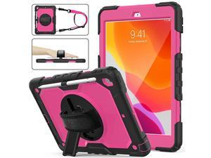Case for iPad 8th/7th Generation, iPad 10.2 2020/2019 Case, [Full-Body] Case with 360 Degrees Rotating Stand [Pencil Holder][Screen Protector] Hand Strap for iPad 8th/7th (Rose+Black)