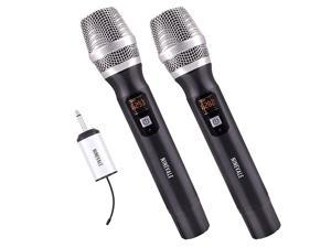 Wireless Microphones UHF  25 Dual Channel Metal Handheld Dynamic Microphone with Mini Receiver Ideal for ChurchKaraokeHome PartyClassroomPresentationWedding Black 2 x Handheld