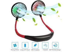 Hanging Neck Sports Fan Hands Free USB Rechargeable Personal Wearable Neckband Fan Battery Operated with 3 Level Air Flow Headphone Design Cooling BlackRed