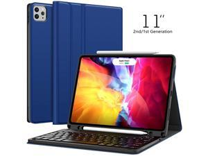 Case for iPad Pro 11 2020 2nd Generation iPad Pro 11 Case with 2018 Wireless Detachable with Pencil Holder Flip Stand Cover iPad Pro 11 inch for Tablet Blue