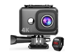 4K Action Camera, WiFi 14MP 45M Waterproof Sport Camera 170 Degree Wide View Angle 2.4G Remote Control 2 Rechargeable Underwater Cam Batteries and Kit of Accessories
