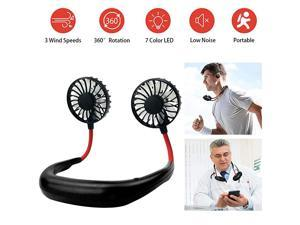Hanging Neck Fan Portable Mini Hand Free USB Personal Fan Battery Operated Fan Headphone Design 3 SpeedsPerfect for Travel Outdoor Office Home Sports