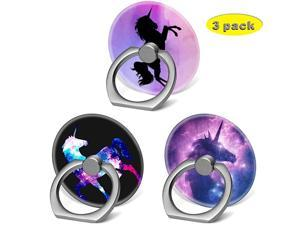 Phone Finger Ring Holder Stand with Car Mount for Smartphone and TabletKickstand 360 Rotation Grip Stand Blue Pink Purple Nebula Unicorn