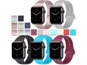 Pack Silicone Bands Compatible for Apple Watch Bands 38mm 40mm Sport Band Compatible for iWatch Series 6 4 3 SERose GoldBlackWine redTealGray 38mm40mmSM
