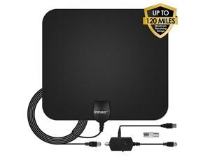 Antenna - HDAntenna Support 4K 1080P, 60-120 Miles Range Digital Antenna for HD, VHF UHF Freeview Channels Antenna with Amplifier Signal Booster, 16.5 Ft Longer Coaxial Cable