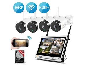 Security Camera System Wireless All in one with 12quot Monitor  4 Channel Wireless Home Security Camera System with 4PCS 20MP 1080P IndoorOutdoor WiFi Security Camera 1TB Hard Drive Free App