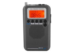 Band Radio Receiver FM AM CB SW VHF Full Band Handheld craft Digital Travel Radio with Extended Antenna Build in Battery Wide Frequency LCD Display with Alarm Earphones Black