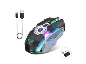 24G Wireless Gaming Mice with USB Receiver and RGB Colors Backlit for LaptopComputer PC and MacBook 600 Mah Lithium Battery Black