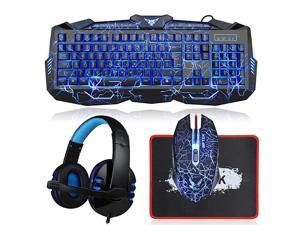 Gaming Keyboard and Mouse Combo with Headset  Crack Backlit 3 Colors Keyboard Wired Gaming Mouse Lighted Gaming Headset with Microphone Set 50mm Speaker Driver + Mouse Pad for PC Games