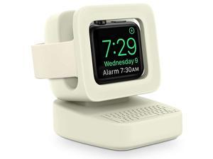 Compatible with Apple Watch Charger Stand Charging Station  Designed for iWatch Stand Charging Dock Silicone for iWatch Series 5 4 3 2 1 Supports Nightstand ModeBeige