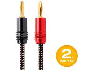 Premium Braided Speaker Wire 14AWG With Gold Plated Banana Plug Connectors Affinity Series 2 Pack 10 Feet