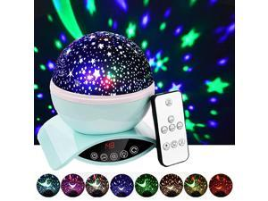 Night Lights Rechargeable Star Projector with Remote Control and Timer Auto Off Design Rotating Projection Lighting Lamp Room Decor Green