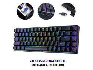 RGB Gaming Office MK14 Mechanical Keyboard USB 68 NonDetachable Keys Backlit Antighosting Keyboard for PC LaptopBlue Red Brown Switch Blue Switch