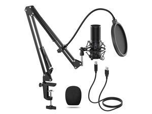 USB Microphone Kit Streaming Podcast PC Condenser Computer Mic for Gaming YouTube Video Recording Music Voice Over Studio Mic Bundle with Adjustment Arm Stand Q9