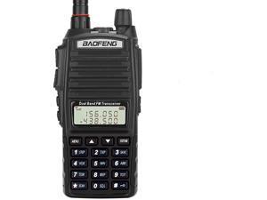 Radio UV82+ 8W Handheld Dual Band VHFUHF Two Way Ham Radio Rechargeable Long Range Walkie Talkies for Adults with Gamtaai NA771 Telescopic Antenna ampAcoustic Tube Earpiece Black