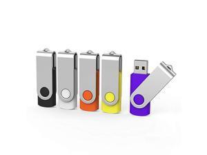 5 X 16 GB USB Flash Drive 16 gb Thumb Drive Memory Stick Swivel Keychain Design Mixcolor 16G5 mixcolor5