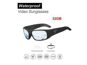 Waterproof Video Audio Sunglasses,Built-in Memory with Ultra 1080P Full HD Video Recording Camera and Polarized UV400 Protection Safety Lenses,Unisex Sport Design