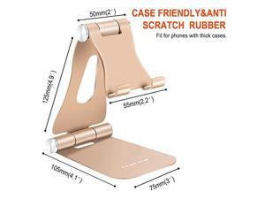 Cell Phone Stand for Desk  Portable Cell Phone Holder Adjustable Tablet Stand Aluminum Stand Holder Cradle Charging Dock for Nintendo Switch All Smartphones and Tablets 413quot Gold