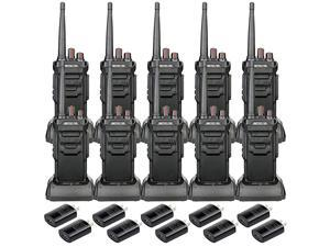 Case of 10 RT48 IP67 Waterproof Walkie Talkies Long Range Rechargeable 2 Way Radio for AdultsRugged Security Commercial Two Way Radios Warehouse Construction