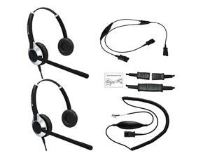 Deluxe Headset Training Solution Includes 2 x  HD550 Double Ear headsets with a NC Microphone Training Cord and a Smart Lead That Works on 95 of Phones with RJ9 RJ11 Headset Port