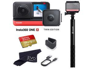 ONE R Twin Edition Super 57K DualLens 360 Camera + 4K Wide Angle 60FPS with Invisible Selfie Stick and 128GB Memory Card Bundle 3 Items