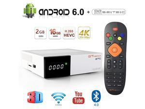 GTC Android 60 TV Box 4K Free to air FTA Satellite TV Receiver DVBS2 Digital ATSC Converter Box TV Tuner with WiFi 24Ghz BT40 3D H265 MPEG24 PVR Recording Smart TV Box