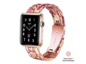 Apple Watch Band Fashion Resin iWatch Band Bracelet Compatible with Copper Stainless Steel Buckle for Apple Watch Series SE Series 6 Series 5 Series 4 Series 3 Series 2 Series1 Facebook Red 42mm44mm