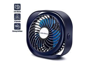 Small Desk Fan Mini Desktop Cooling Fan with 3 Speeds Rechargeable with 2000mAh Battery Portable Strong Wind UltraQuiet Desk Fans for Home Office Room Car Indoor Outdoor
