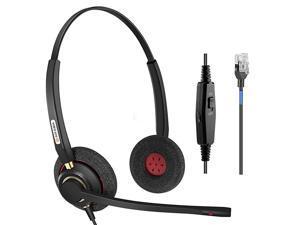Phone headsets Rj9 with Noise Cancelling Mic for Mitel 5220e 5330e 5330 5340 Polycom VVX311 VVX410 VVX411 VVX500 Avaya 1408 1416 5410 ShoreTel 230 420 480 NEC Landline Deskphones A800D